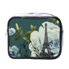Blue Roses Vintage Paris Eiffel Tower Floral Fashion Decor Mini Travel Toiletry Bag (one Side)