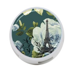 Blue Roses Vintage Paris Eiffel Tower Floral Fashion Decor 4 Port Usb Hub (two Sides)