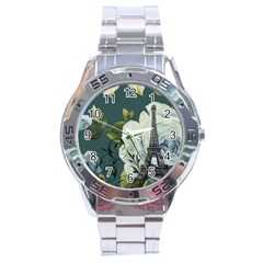 Blue Roses Vintage Paris Eiffel Tower Floral Fashion Decor Stainless Steel Watch (men s)