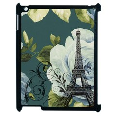 Blue roses vintage Paris Eiffel Tower floral fashion decor Apple iPad 2 Case (Black)