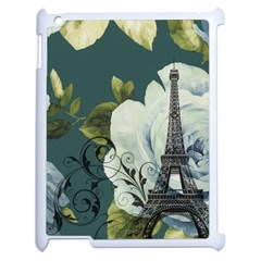 Blue roses vintage Paris Eiffel Tower floral fashion decor Apple iPad 2 Case (White)