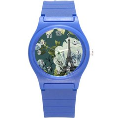 Blue roses vintage Paris Eiffel Tower floral fashion decor Plastic Sport Watch (Small)