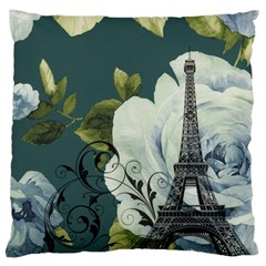 Blue roses vintage Paris Eiffel Tower floral fashion decor Large Cushion Case (Two Sided)