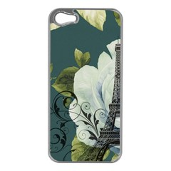 Blue Roses Vintage Paris Eiffel Tower Floral Fashion Decor Apple Iphone 5 Case (silver)