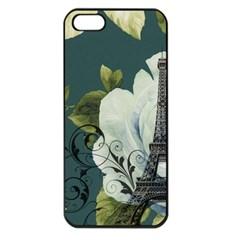 Blue Roses Vintage Paris Eiffel Tower Floral Fashion Decor Apple Iphone 5 Seamless Case (black)