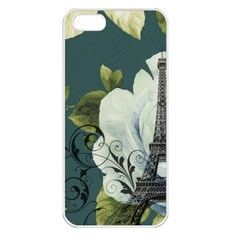 Blue Roses Vintage Paris Eiffel Tower Floral Fashion Decor Apple Iphone 5 Seamless Case (white)