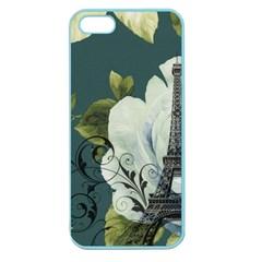 Blue Roses Vintage Paris Eiffel Tower Floral Fashion Decor Apple Seamless Iphone 5 Case (color)