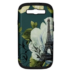 Blue roses vintage Paris Eiffel Tower floral fashion decor Samsung Galaxy S III Hardshell Case (PC+Silicone)
