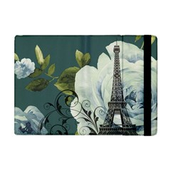 Blue Roses Vintage Paris Eiffel Tower Floral Fashion Decor Apple Ipad Mini Flip Case