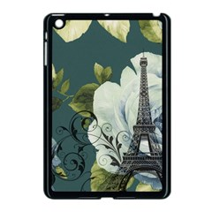 Blue roses vintage Paris Eiffel Tower floral fashion decor Apple iPad Mini Case (Black)