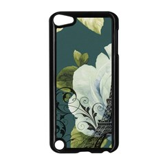 Blue roses vintage Paris Eiffel Tower floral fashion decor Apple iPod Touch 5 Case (Black)