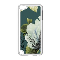 Blue Roses Vintage Paris Eiffel Tower Floral Fashion Decor Apple Ipod Touch 5 Case (white)
