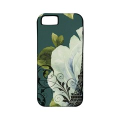 Blue roses vintage Paris Eiffel Tower floral fashion decor Apple iPhone 5 Classic Hardshell Case (PC+Silicone)