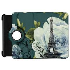 Blue roses vintage Paris Eiffel Tower floral fashion decor Kindle Fire HD 7  Flip 360 Case