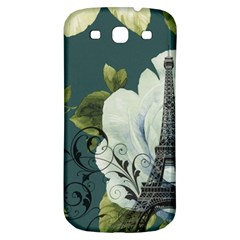 Blue roses vintage Paris Eiffel Tower floral fashion decor Samsung Galaxy S3 S III Classic Hardshell Back Case