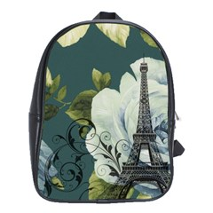 Blue roses vintage Paris Eiffel Tower floral fashion decor School Bag (XL)