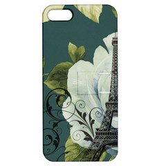 Blue Roses Vintage Paris Eiffel Tower Floral Fashion Decor Apple Iphone 5 Hardshell Case With Stand