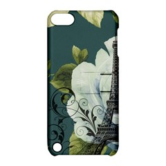 Blue roses vintage Paris Eiffel Tower floral fashion decor Apple iPod Touch 5 Hardshell Case with Stand