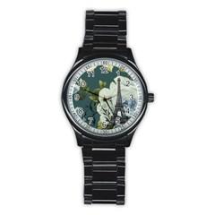 Blue Roses Vintage Paris Eiffel Tower Floral Fashion Decor Sport Metal Watch (black)