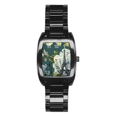 Blue roses vintage Paris Eiffel Tower floral fashion decor Men s Stainless Steel Barrel Analog Watch