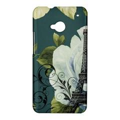 Blue roses vintage Paris Eiffel Tower floral fashion decor HTC One M7 Hardshell Case