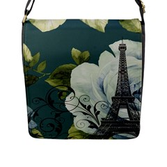 Blue Roses Vintage Paris Eiffel Tower Floral Fashion Decor Flap Closure Messenger Bag (large)