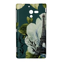 Blue roses vintage Paris Eiffel Tower floral fashion decor Sony Xperia ZL L35H Hardshell Case