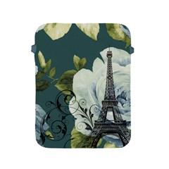 Blue roses vintage Paris Eiffel Tower floral fashion decor Apple iPad 2/3/4 Protective Soft Case