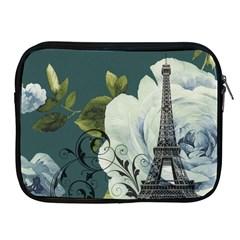 Blue roses vintage Paris Eiffel Tower floral fashion decor Apple iPad 2/3/4 Zipper Case