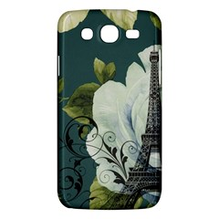 Blue roses vintage Paris Eiffel Tower floral fashion decor Samsung Galaxy Mega 5.8 I9152 Hardshell Case