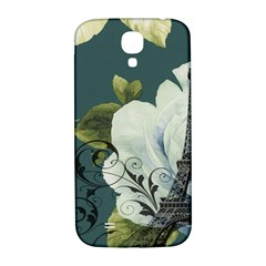 Blue roses vintage Paris Eiffel Tower floral fashion decor Samsung Galaxy S4 I9500/I9505  Hardshell Back Case