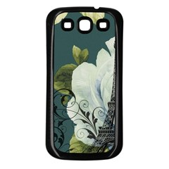 Blue roses vintage Paris Eiffel Tower floral fashion decor Samsung Galaxy S3 Back Case (Black)