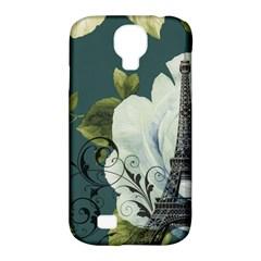 Blue Roses Vintage Paris Eiffel Tower Floral Fashion Decor Samsung Galaxy S4 Classic Hardshell Case (pc+silicone)