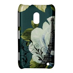 Blue roses vintage Paris Eiffel Tower floral fashion decor Nokia Lumia 620 Hardshell Case