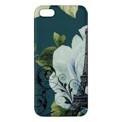 Blue roses vintage Paris Eiffel Tower floral fashion decor iPhone 5S Premium Hardshell Case