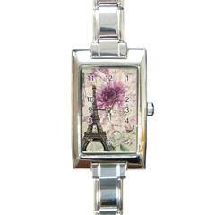 Purple Floral Vintage Paris Eiffel Tower Art Rectangular Italian Charm Watch