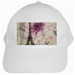Purple Floral Vintage Paris Eiffel Tower Art White Baseball Cap