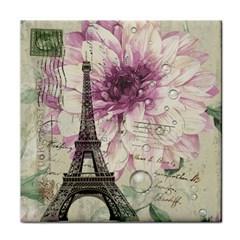 Purple Floral Vintage Paris Eiffel Tower Art Ceramic Tile