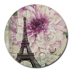 Purple Floral Vintage Paris Eiffel Tower Art 8  Mouse Pad (Round)