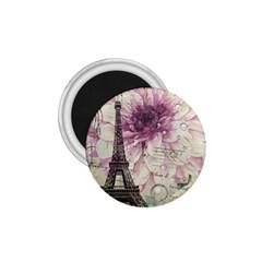 Purple Floral Vintage Paris Eiffel Tower Art 1.75  Button Magnet