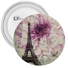 Purple Floral Vintage Paris Eiffel Tower Art 3  Button