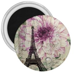 Purple Floral Vintage Paris Eiffel Tower Art 3  Button Magnet
