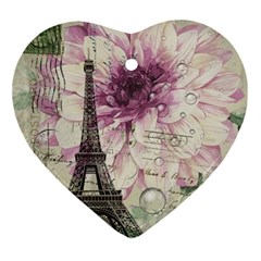 Purple Floral Vintage Paris Eiffel Tower Art Heart Ornament