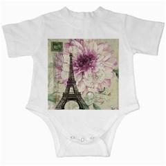 Purple Floral Vintage Paris Eiffel Tower Art Infant Creeper