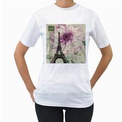 Purple Floral Vintage Paris Eiffel Tower Art Womens  T-shirt (White)