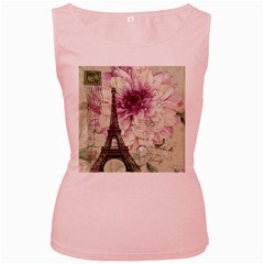 Purple Floral Vintage Paris Eiffel Tower Art Womens  Tank Top (pink)