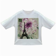Purple Floral Vintage Paris Eiffel Tower Art Baby T-shirt
