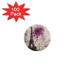 Purple Floral Vintage Paris Eiffel Tower Art 1  Mini Button Magnet (100 pack)