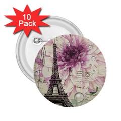 Purple Floral Vintage Paris Eiffel Tower Art 2.25  Button (10 pack)