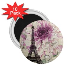 Purple Floral Vintage Paris Eiffel Tower Art 2 25  Button Magnet (10 Pack)